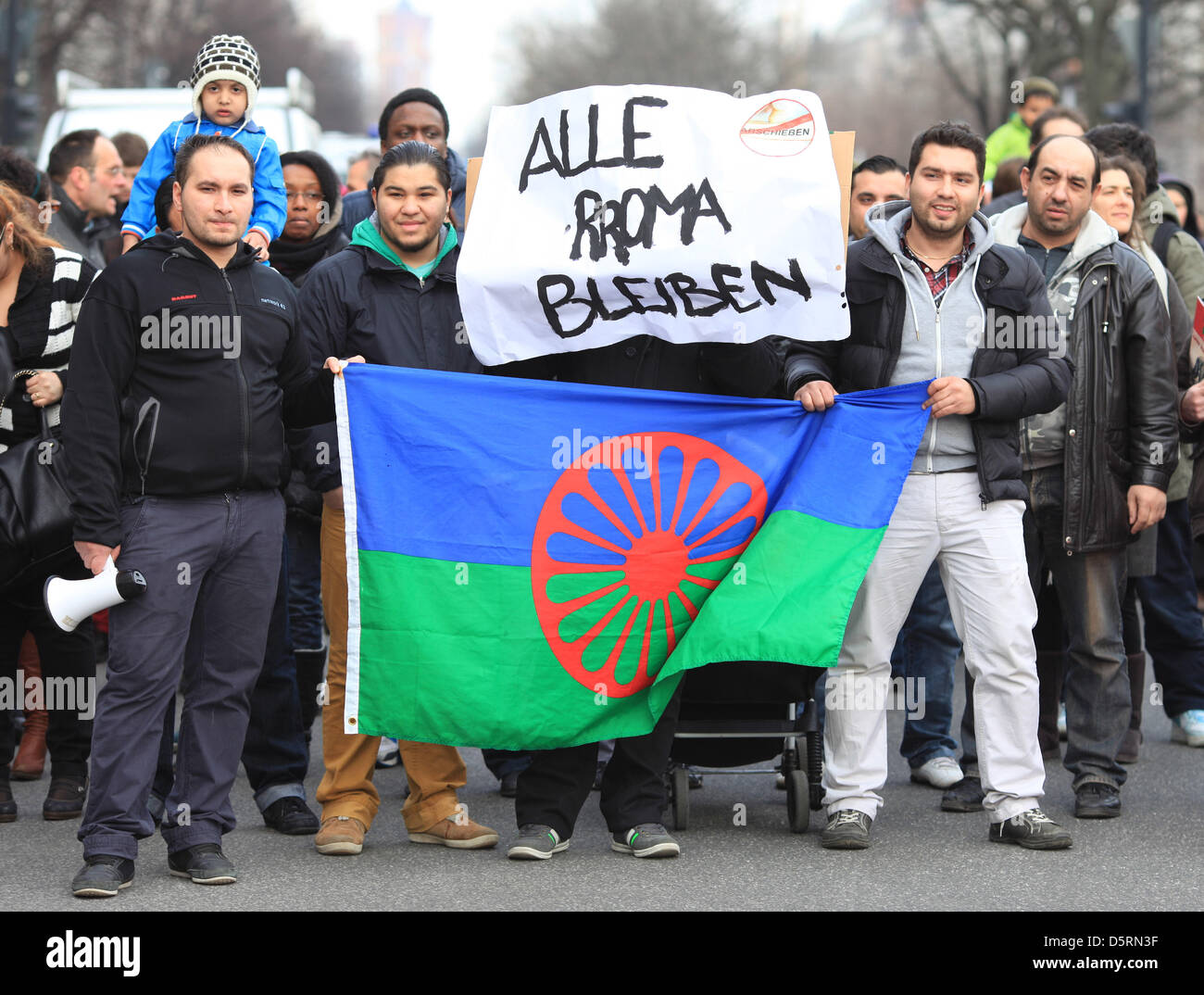 'All Roma will stay' is written on a placard during a demonstration in Berlin,Germany, 08April - Stock Image
