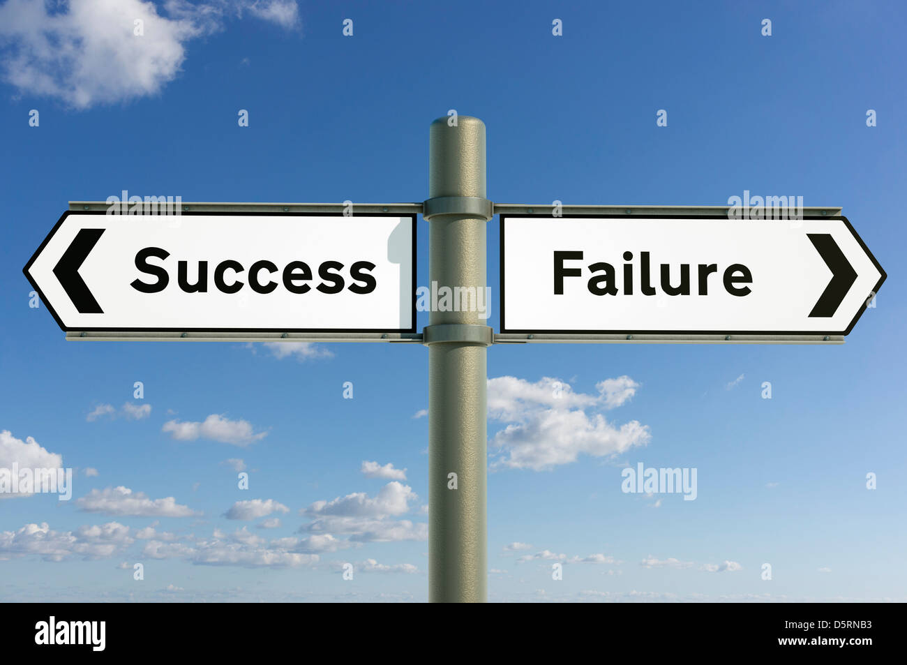 Success, Failure choice, life decision decisions future concept sign - Stock Image