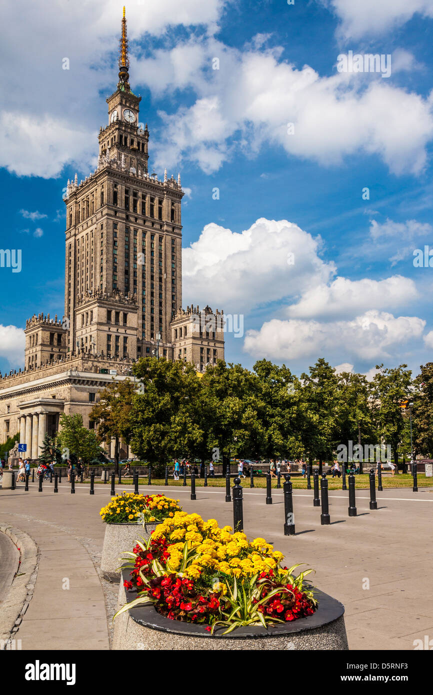The Palace of Culture and Science, or Pałac Kultury i Nauki, (also abbreviated to PKiN) in Warsaw, Poland. Stock Photo