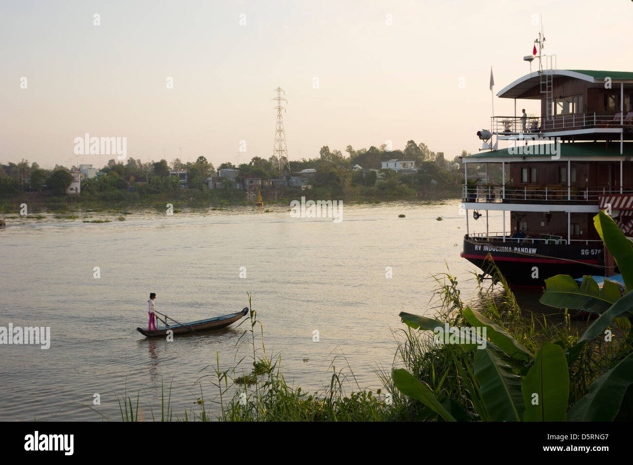 Bassac River stretch of the Mekhong; Chau Doc; Vietnam - Stock Image