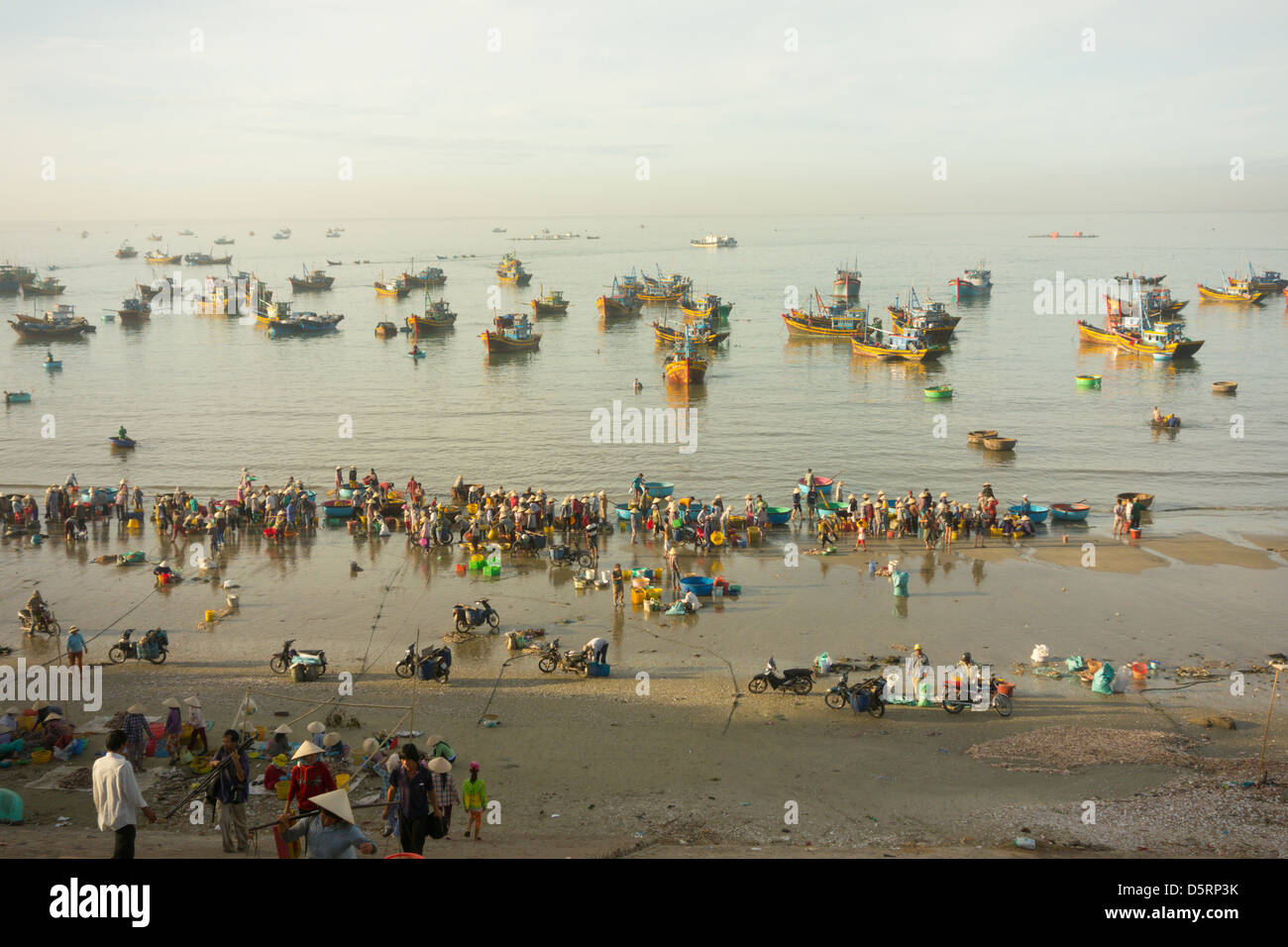 Daily early morning fish market on beach at village of Mui Ne, popular tourist resort on Vietnamese coast near Phan - Stock Image