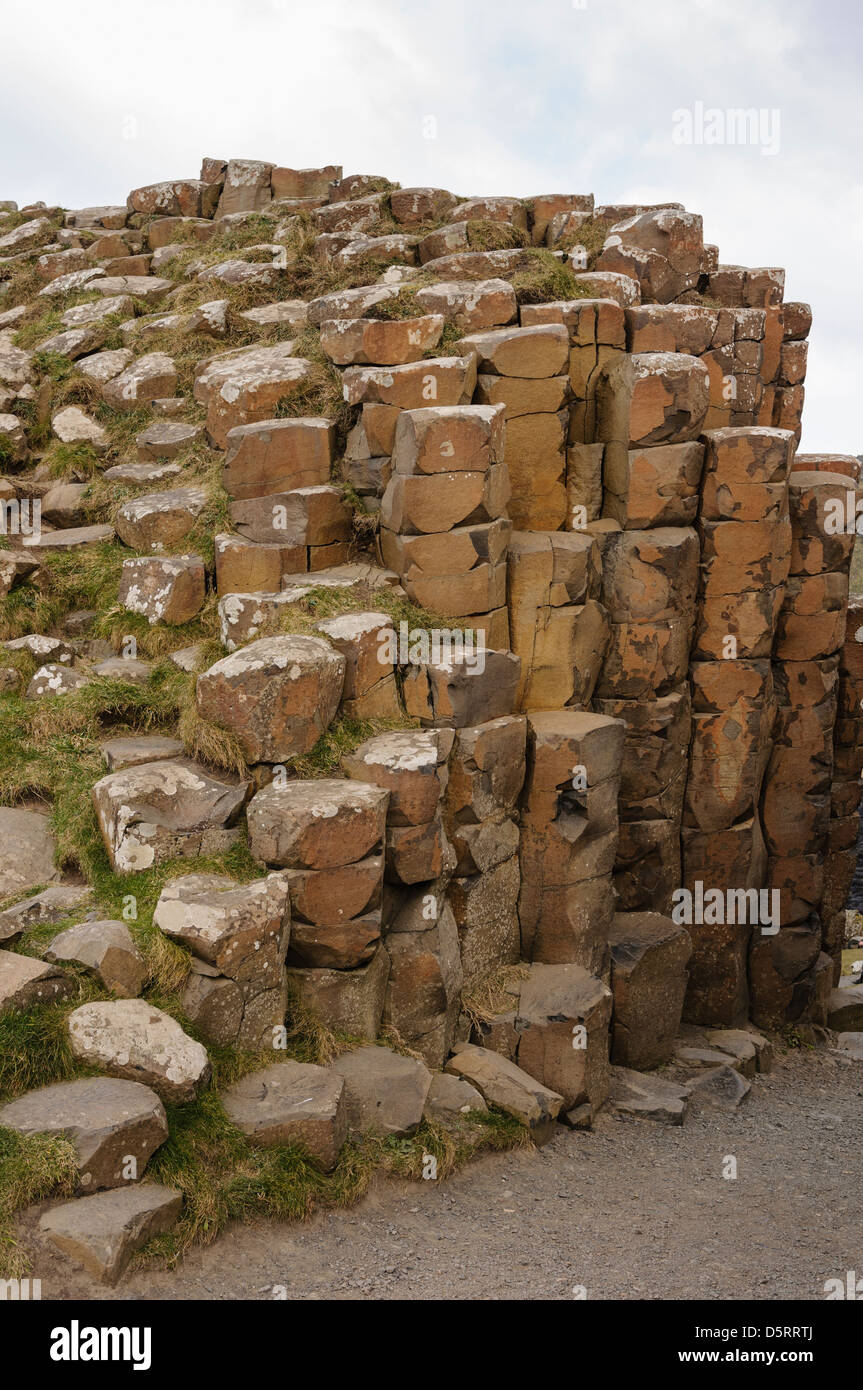 Basalt rock columns at the Giant's Causeway - Stock Image
