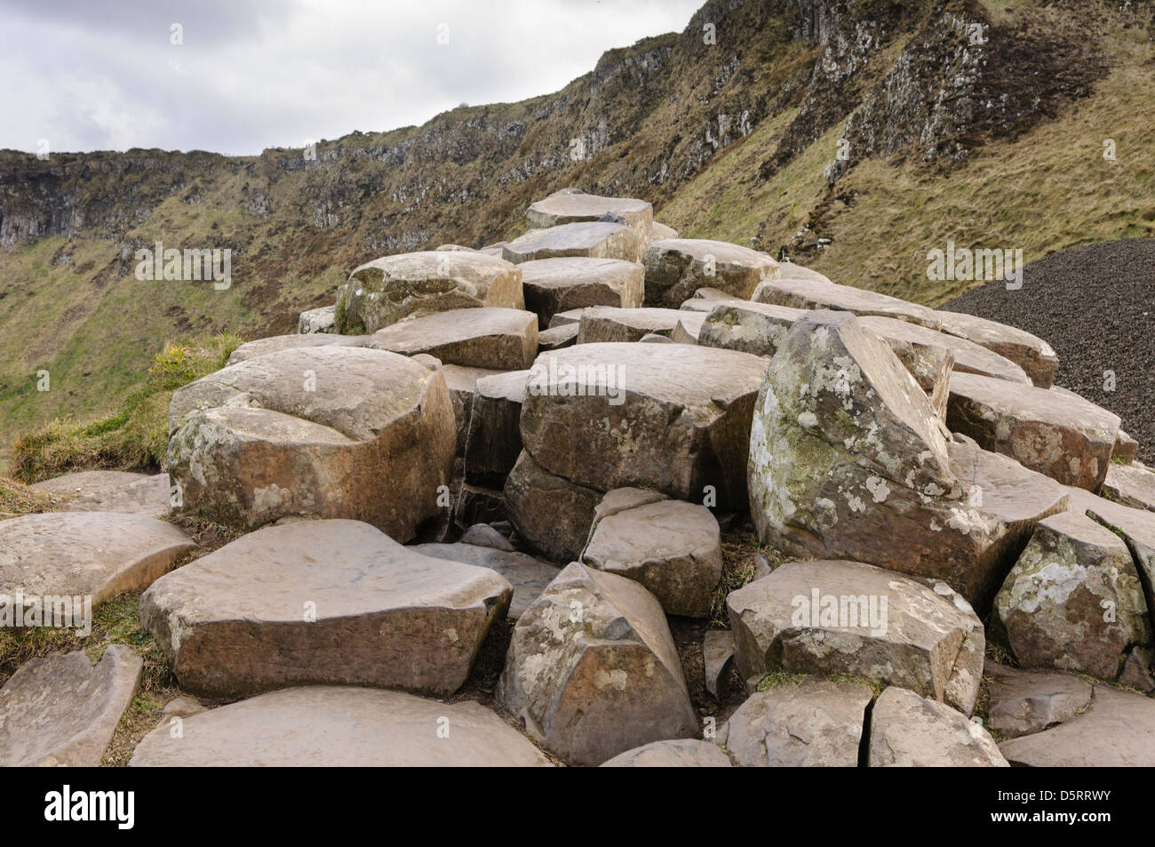 Basalt stone columns at the Giant's Causeway - Stock Image