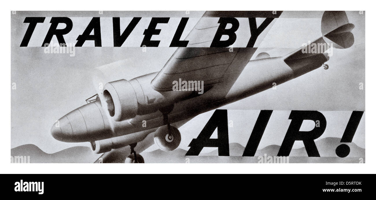 1930's Black and White sheet poster promoting air travel in the USA - Stock Image