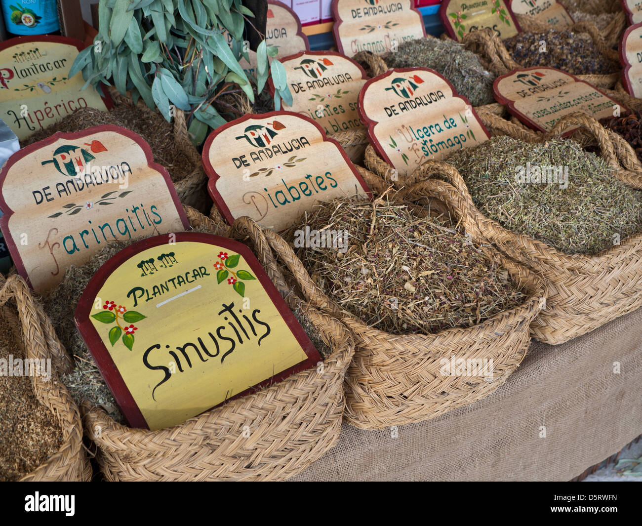 Variety of herbs and herbal remedies on display for sale Palma de Mallorca market stall  Spain - Stock Image