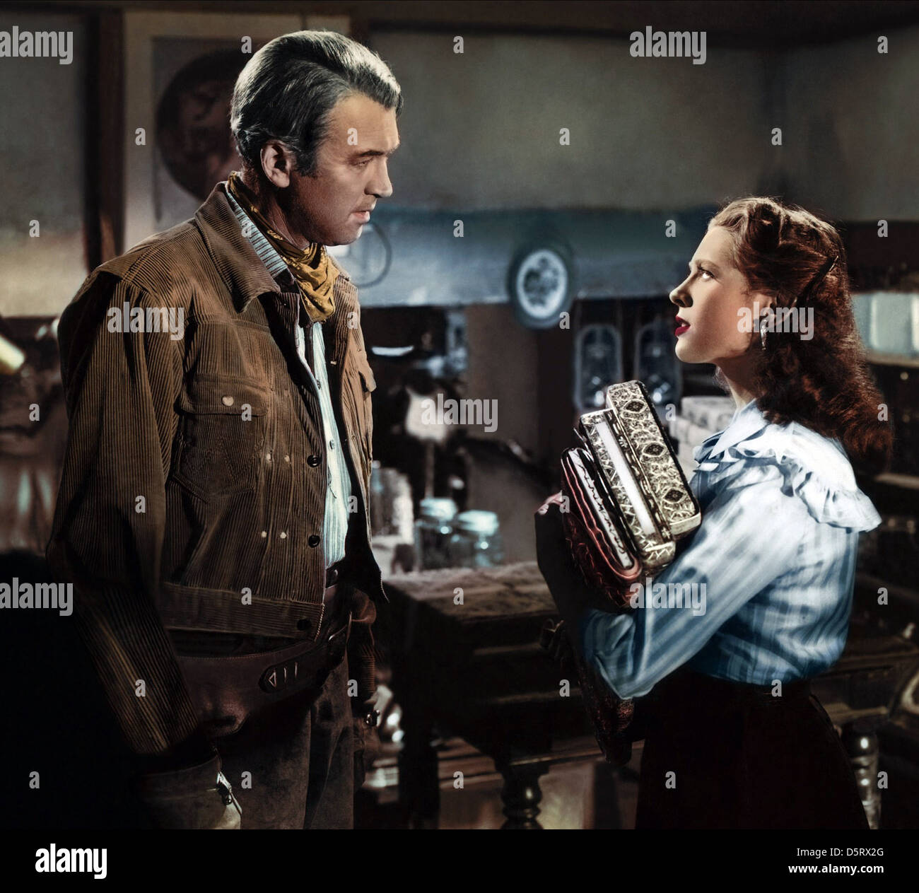 JAMES STEWART, CATHY O'DONNELL, THE MAN FROM LARAMIE, 1955 - Stock Image