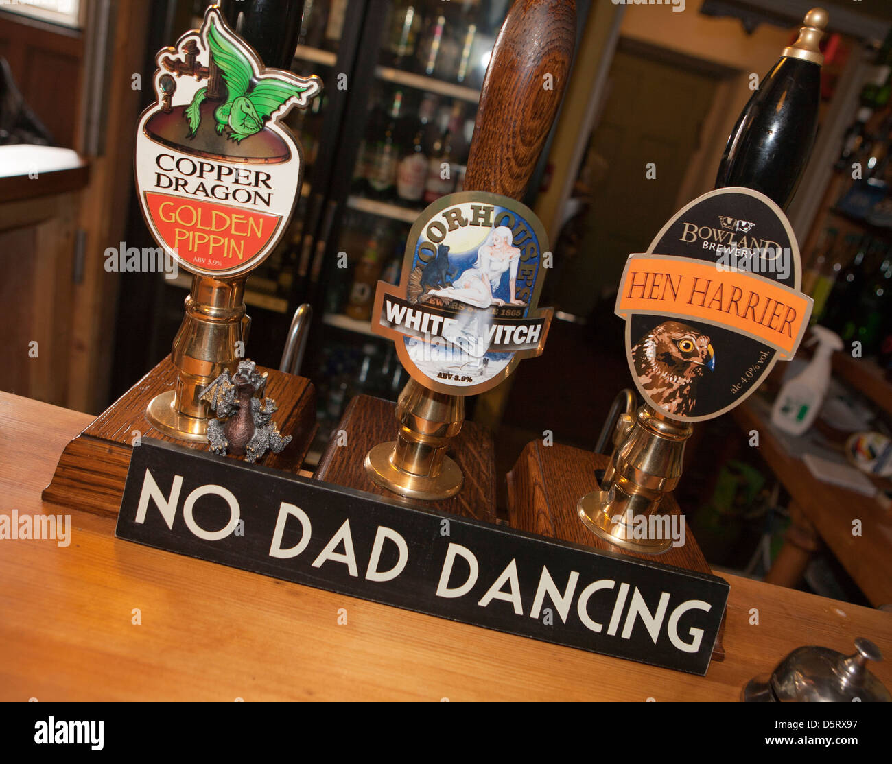 Funny humorous no dad dancing sign inside UK public house - Stock Image
