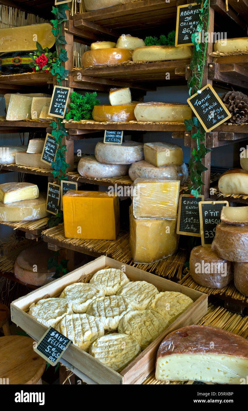 Selection of handmade cheeses on display in the artisan fromagerie cheese shop 'Caseus' Montreuil sur Mer - Stock Image