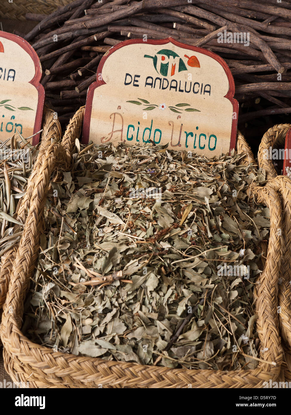 herbal remedy on display for sale Palma de Mallorca market stall  Spain - Stock Image