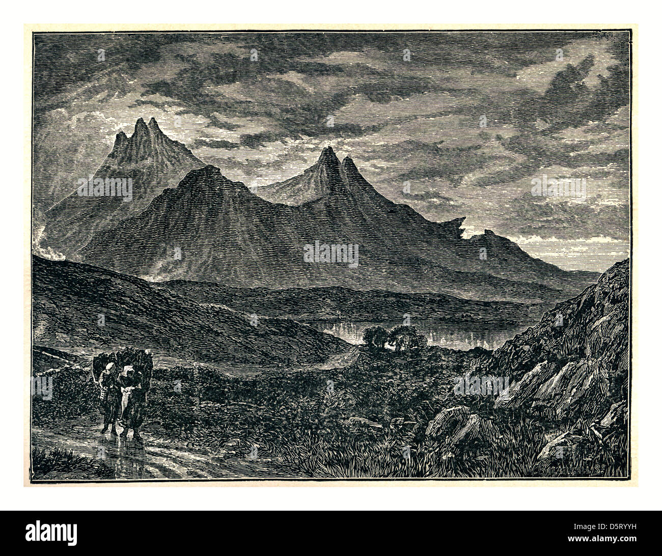 Historic illustration 1700's of The Pinnacles, Scuir-na-Gillian, Isle of Skye - Stock Image