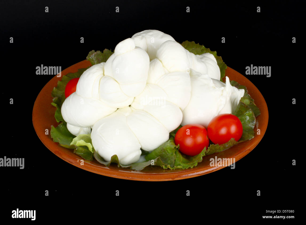 Braid of Italian mozzarella with salad and tomatoes - Stock Image