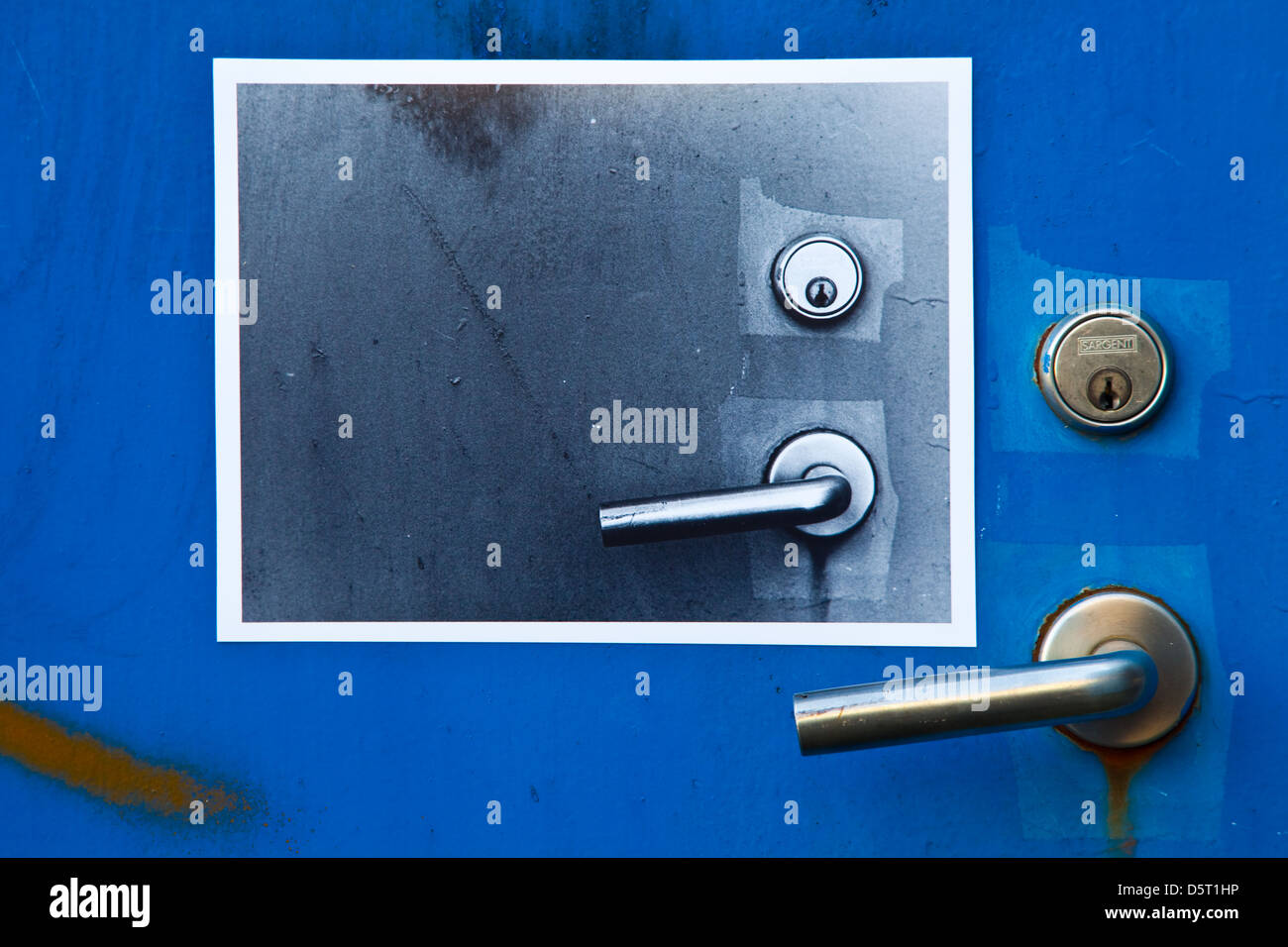 Abstract image of handle and lock, Granville Island, Vancouver - Stock Image