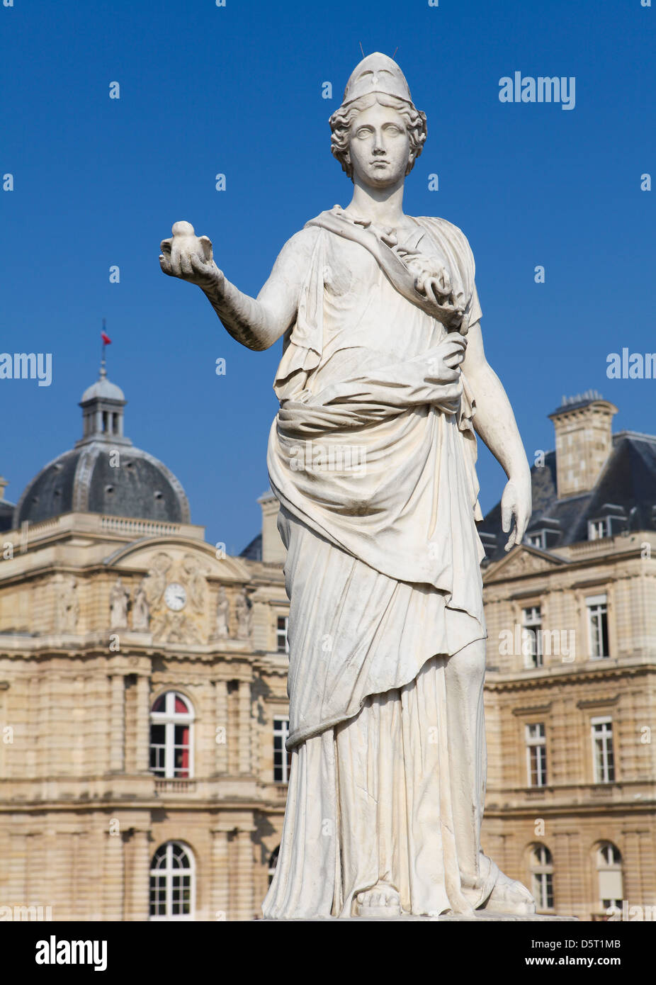 Statue of Minerva (equated with the Greek goddess Athena) at the Jardin de Luxembourg in Paris, France. - Stock Image