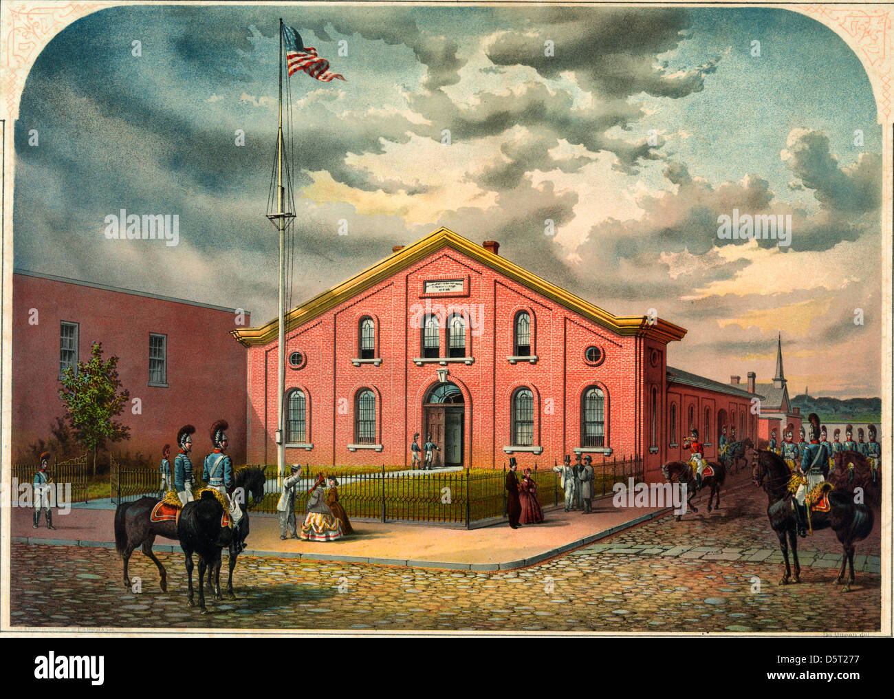 Armory of the First Troop Philadelphia City Cavalry, circa 1870 - Stock Image