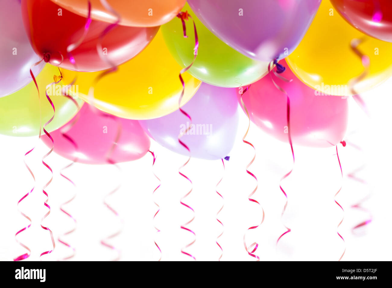 balloons with streamers for birthday party celebration - Stock Image