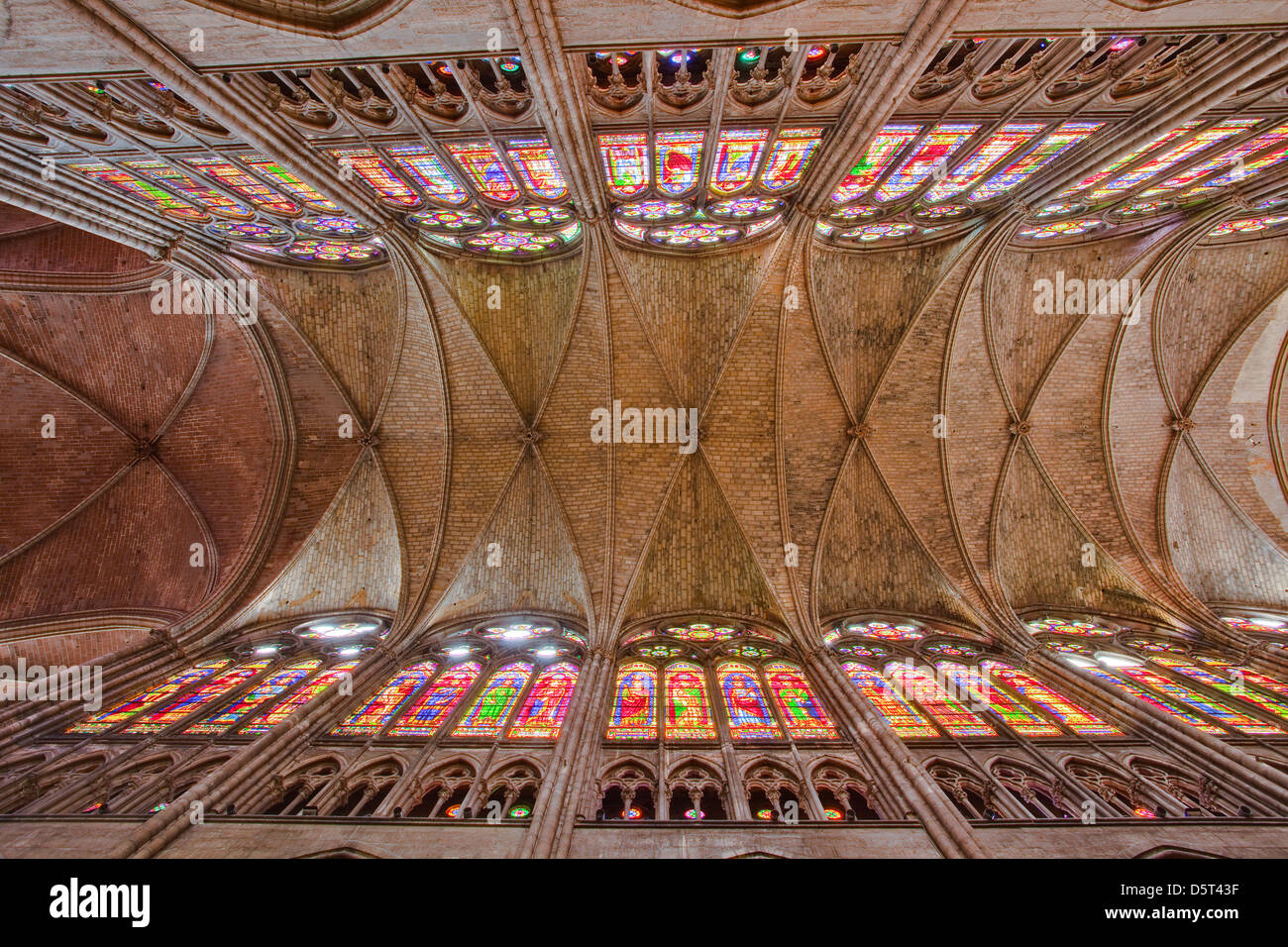 The roof of the nave in Saint Denis basilica, Paris. Stock Photo