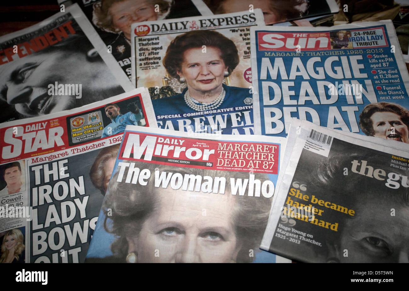 British National Newspaper Front Pages On Margaret Thatcher S Death Stock Photo Alamy