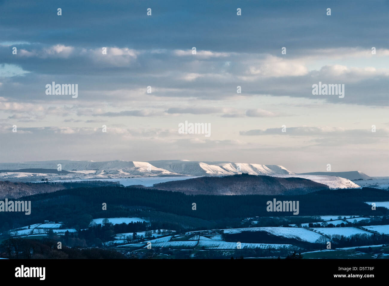 A view of the Black Mountains and Hay Bluff (above Hay-on-Wye) during the cold spring of 2013 - Stock Image