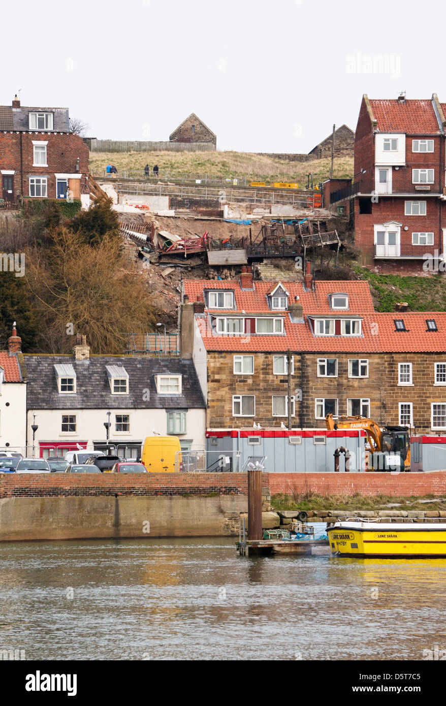 Site of landslide and demolished houses following torrential rain Whitby, north Yorkshire, England UK - Stock Image