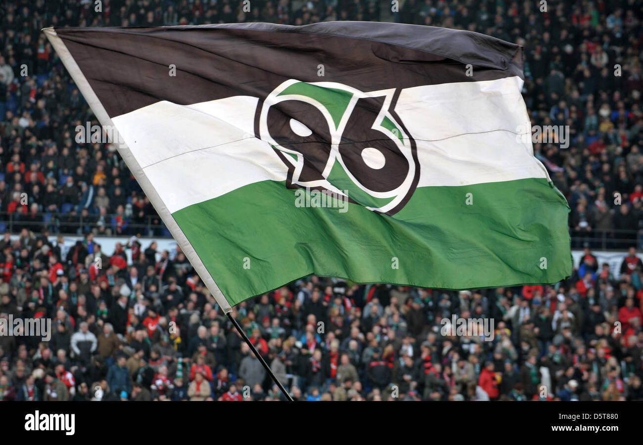 Supporter Of Hannover 96 Wave A Flag During The Bundesliga Soccer Stock Photo Alamy