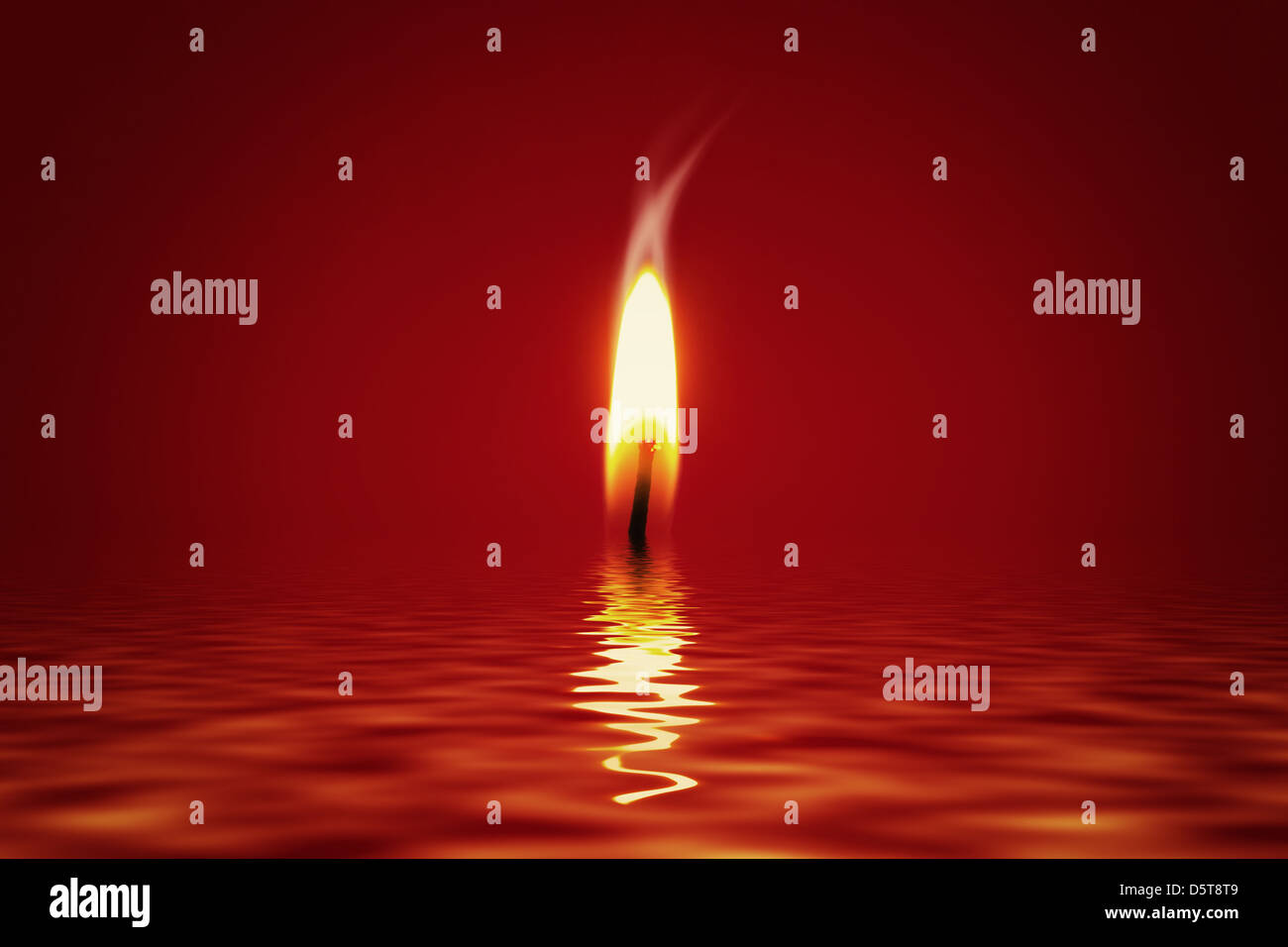Candlelight in Water - Stock Image