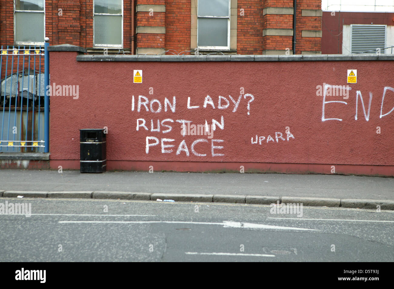 Falls Road, Belfast, Northern Ireland,UK 9th April 2013 Graffiti, mocking the death of Lady Thatcher yesterday. - Stock Image