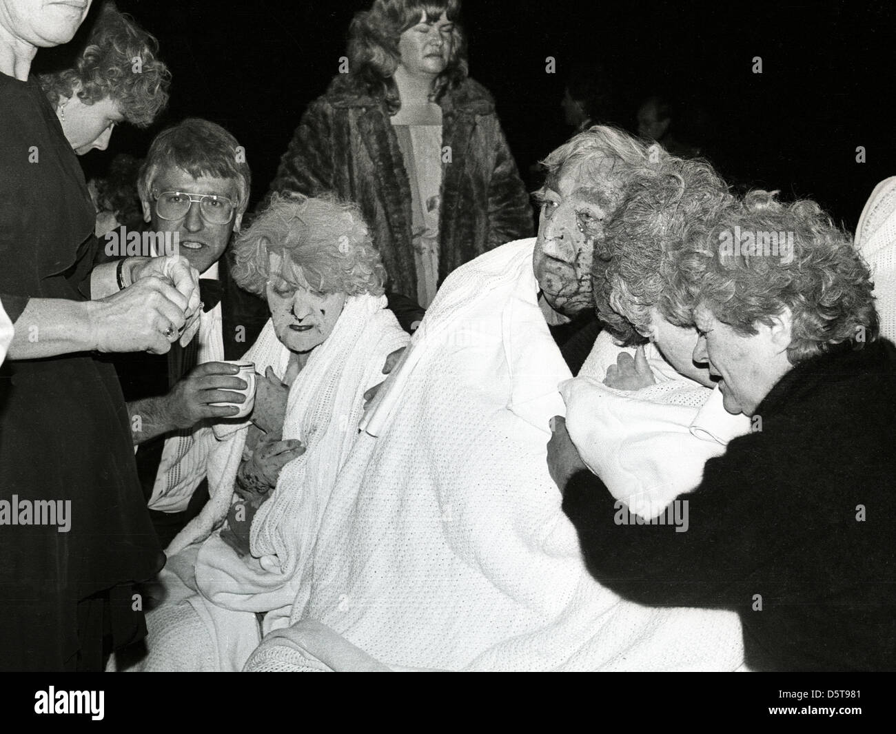 Shocked, dust covered guests at the Grand Hotel, Brighton after IRA bomb attack on Mrs Thatcher, 12th October 1984 - Stock Image