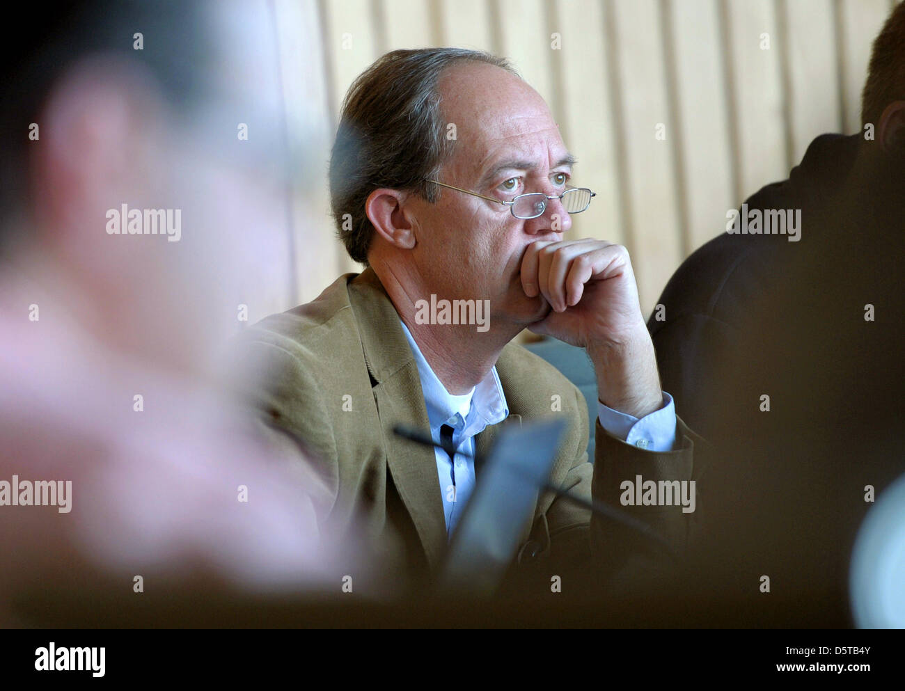 Dietmar Schulz, member of the German party The Pirates, attends the party's fraction meeting in Duesseldorf, - Stock Image