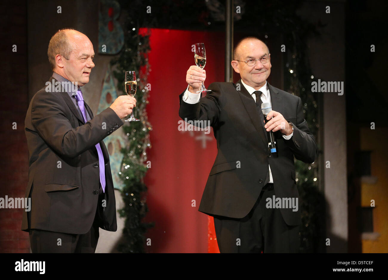 Entertainer and theatre owner Corny Littmann (L) and his business partner Norbert Aust stand on the stage at Schmidt's - Stock Image