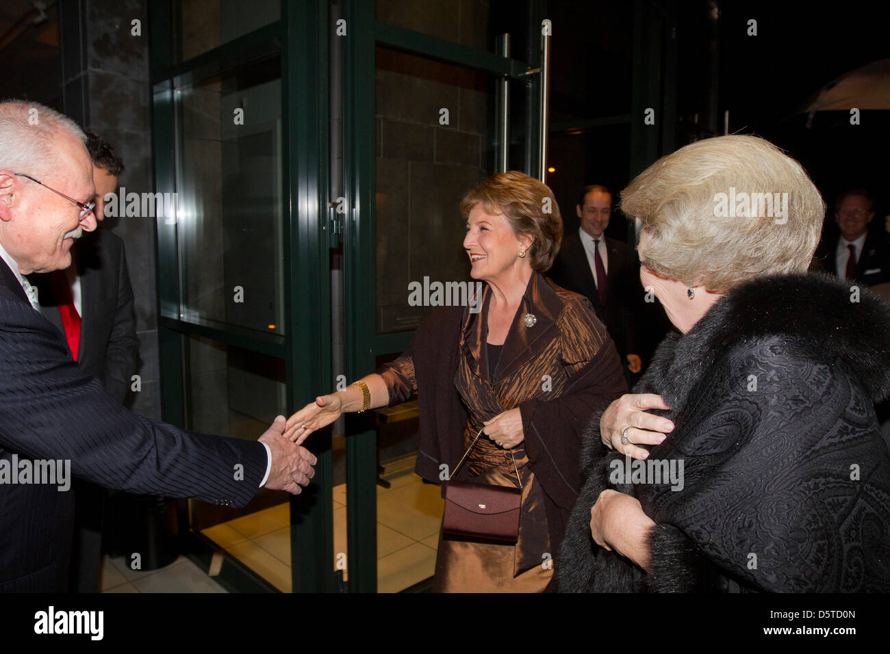 Queen Beatrix of The Netherlands and Princess Margriet attend a concert offered by President Gasparovic of Slovakia Stock Photo