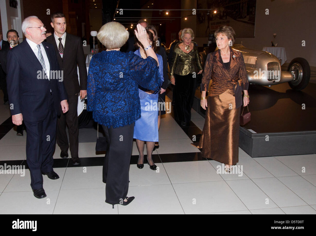 Queen Beatrix of The Netherlands (C) and Princess Margriet (R) attend a concert offered by President Gasparovic Stock Photo