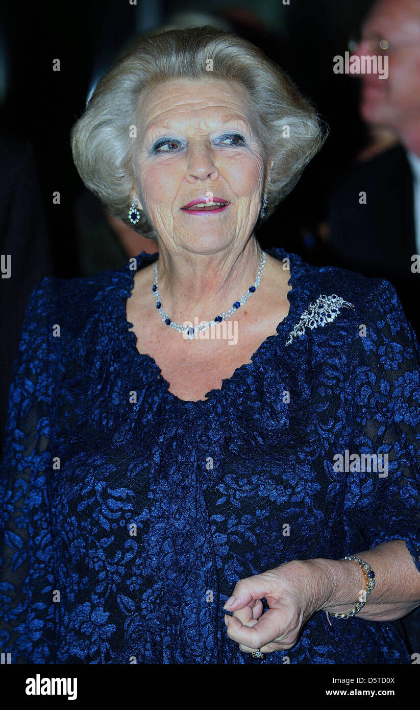Queen Beatrix of The Netherlands and Princess Margriet (not in picture) attend a concert offered by President Gasparovic Stock Photo