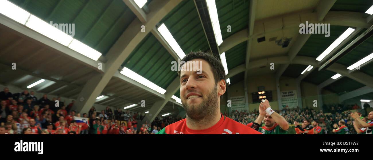 Magdeburg's Bennet Wiegert seen after the European handball Cup between SC Magdeburg and FK Vardar Skopje at - Stock Image