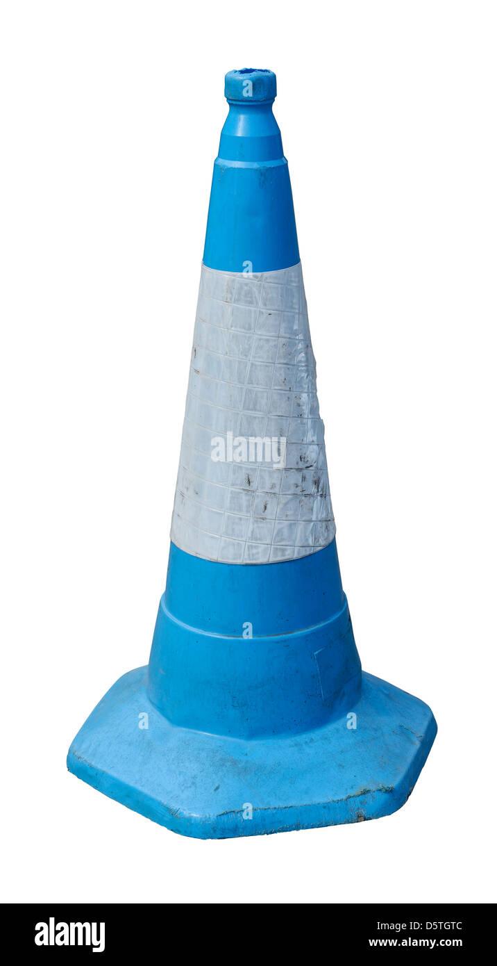 Blue road traffic cone - Stock Image