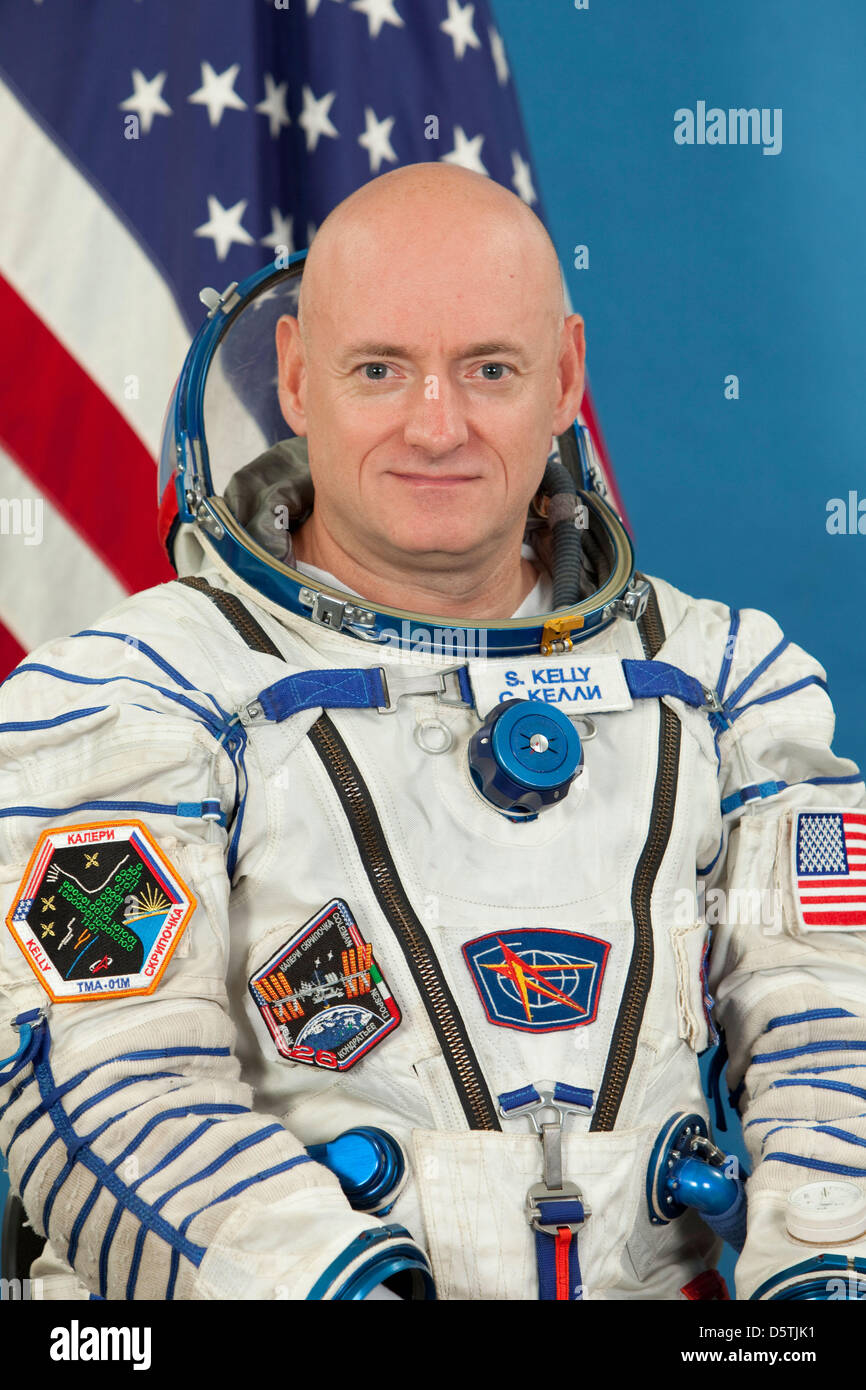 This file photo of NASA astronaut Scott Kelly, attired in a Russian Sokol launch and entry suit, was taken in Star - Stock Image