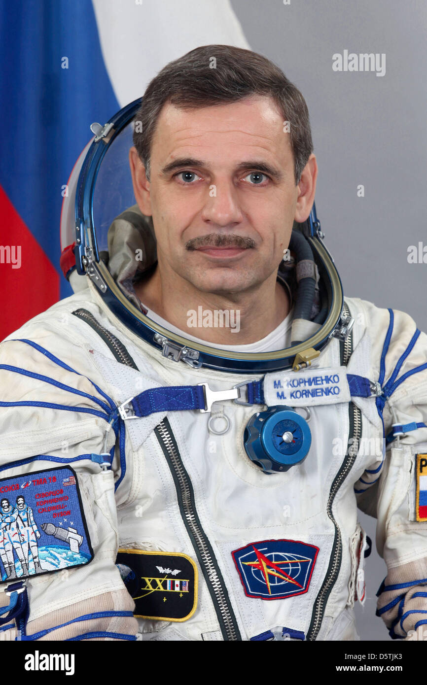 This file photo of Russian cosmonaut Mikhail Kornienko, attired in a Russian Sokol launch and entry suit, was taken - Stock Image