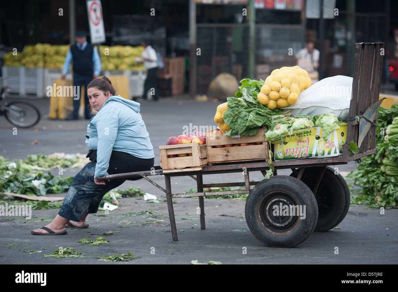 Worker sitting with vegetables in a truck at Lo Valledor central wholesale produce market in Santiago, Chile - Stock Image