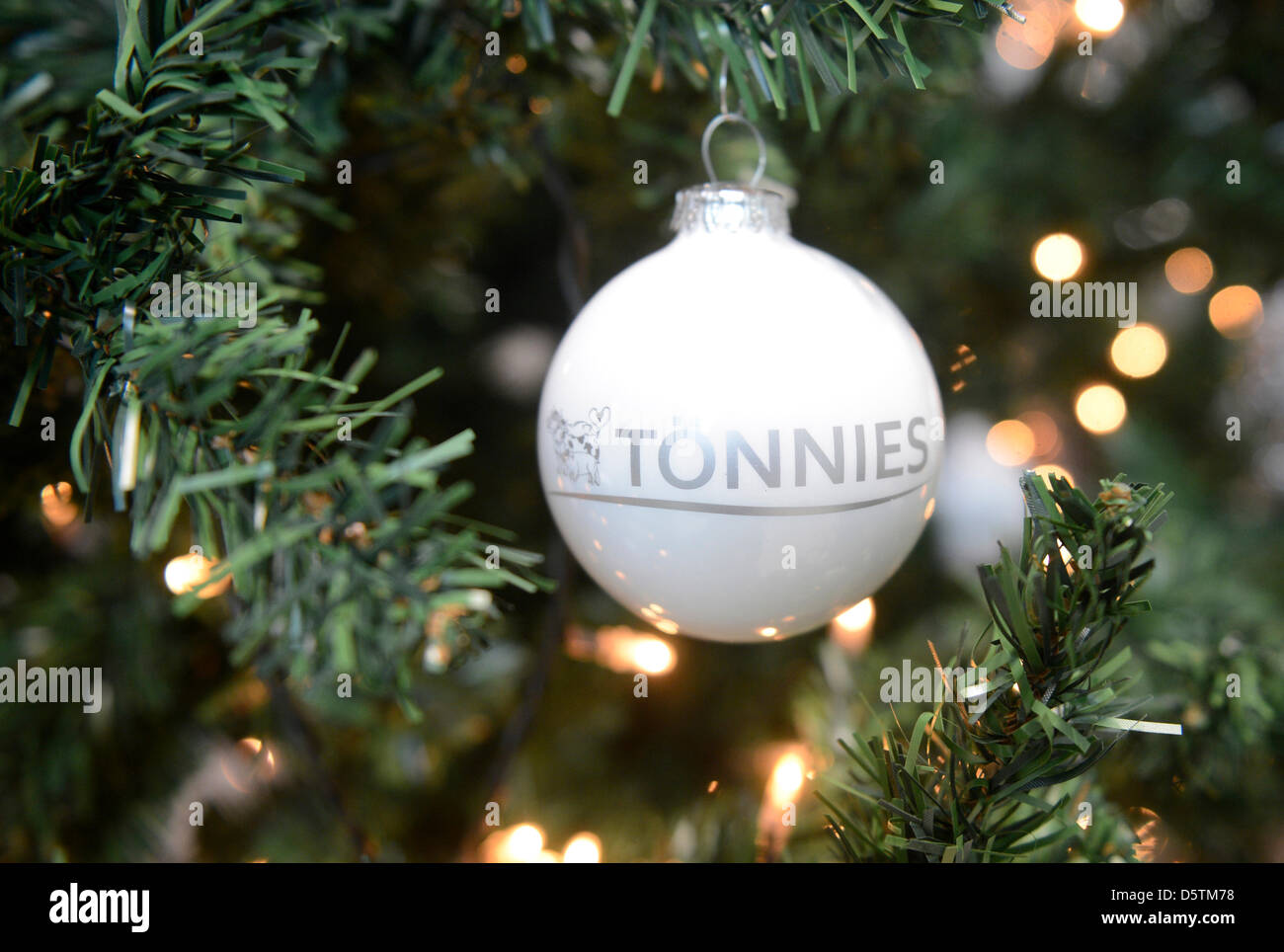 A glitter ball hangs on a tree during the annual general meeting of meat producer Toennies in Rheda-Wiedenbrueck, - Stock Image