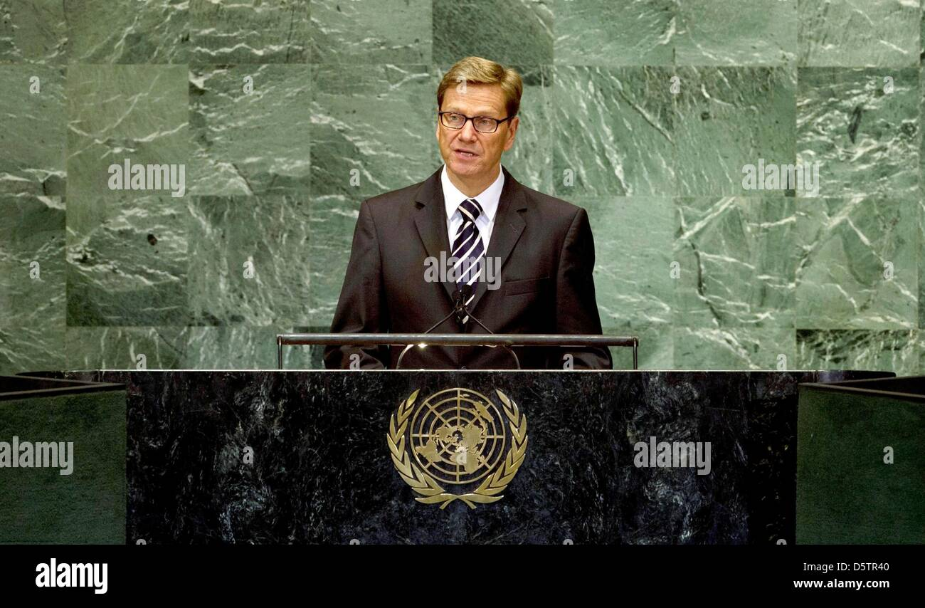Guido Westerwelle, the Federal Minister for Foreign Affairs of Germany, addresses a high level meeting about the - Stock Image