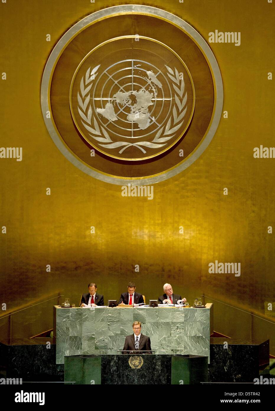 Guido Westerwelle (C front), the Federal Minister for Foreign Affairs of Germany, addresses a high level meeting - Stock Image
