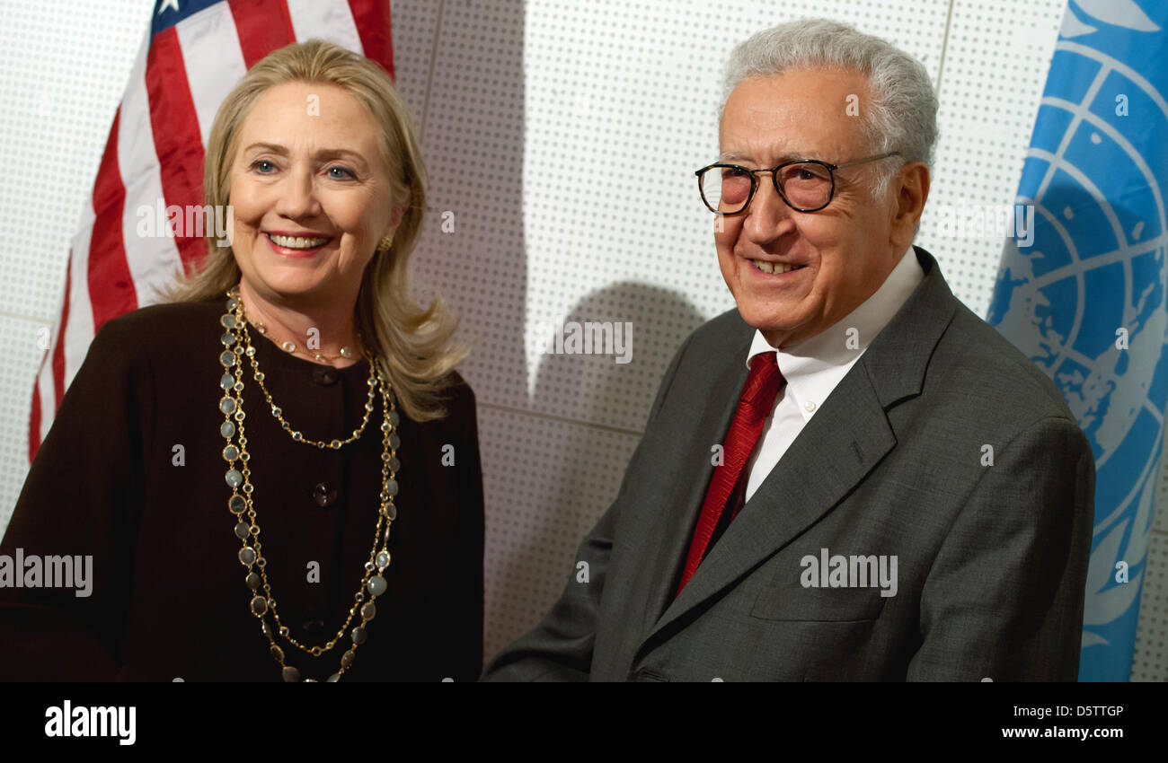 USSecretary of State Hillary Clinton meets with the new UN and ArabLeague peace envoy to Syria, Lakhdar Brahimi, Stock Photo