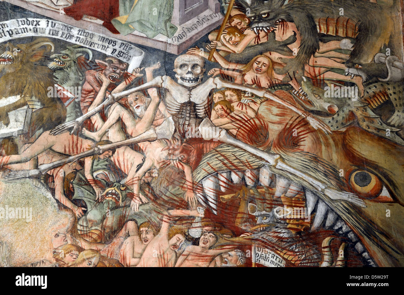 The Damned or Sinners in Hell Fresco (1492-1530) Notre-Dame des Fontaines La Brigue Roya Valley Alpes-Maritimes - Stock Image