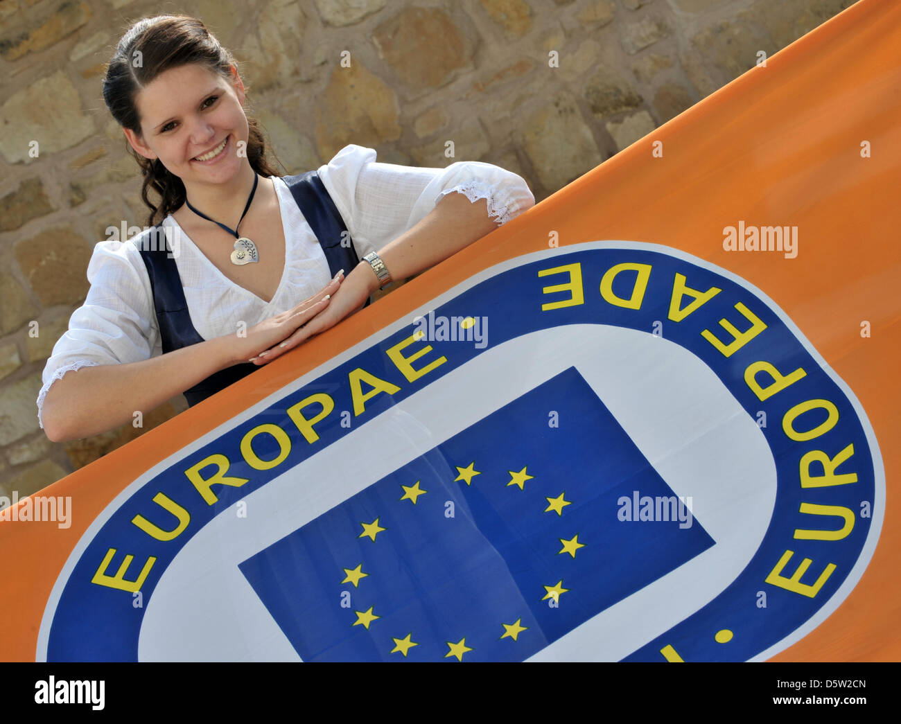 The Embassador of the 50th Europeade, 20-year-old Julia Hartung from Wechmar, poses as'Europina' in a specially Stock Photo