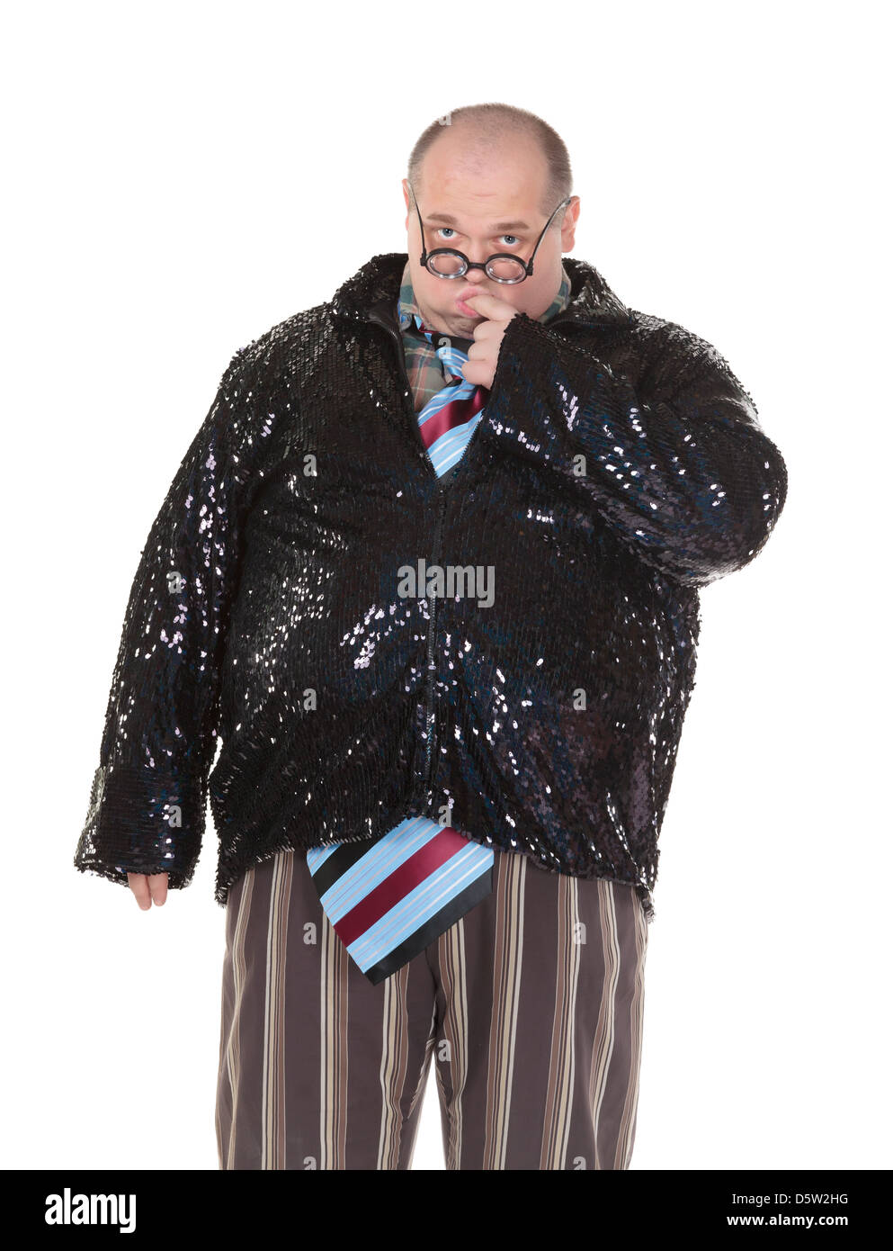 Obese man with an outrageous fashion sense - Stock Image