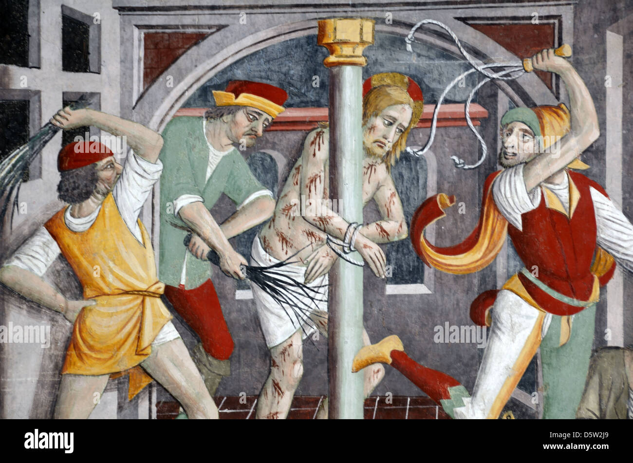 Flagellation of Christ by Jews Fresco (1492-1530) Notre Dame des Fontaines La Brigue Roya Valley Alpes-Maritimes - Stock Image