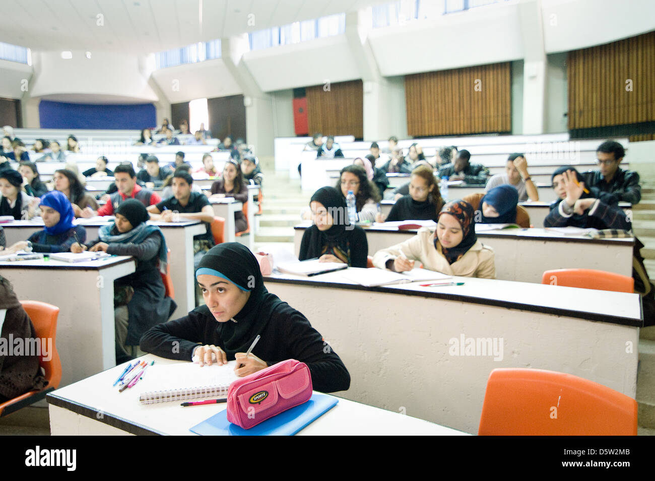 A new mentoring programm started at Mohammed V Souissi University where female students can get advice for her professional - Stock Image
