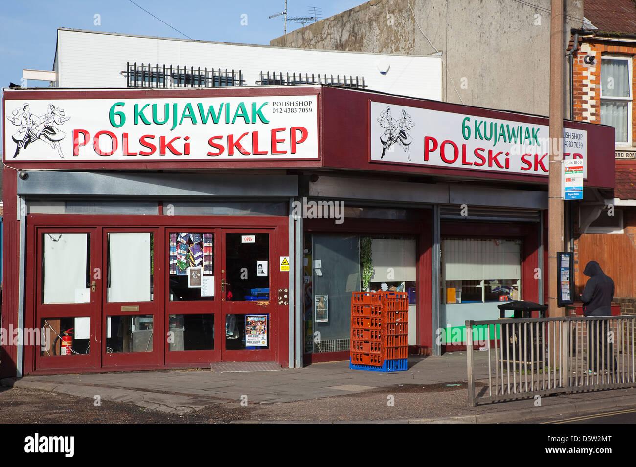 a96b50be525b9 England, West Sussex, Bognor Regis, Exterior of Polish delicatessen. -  Stock Image