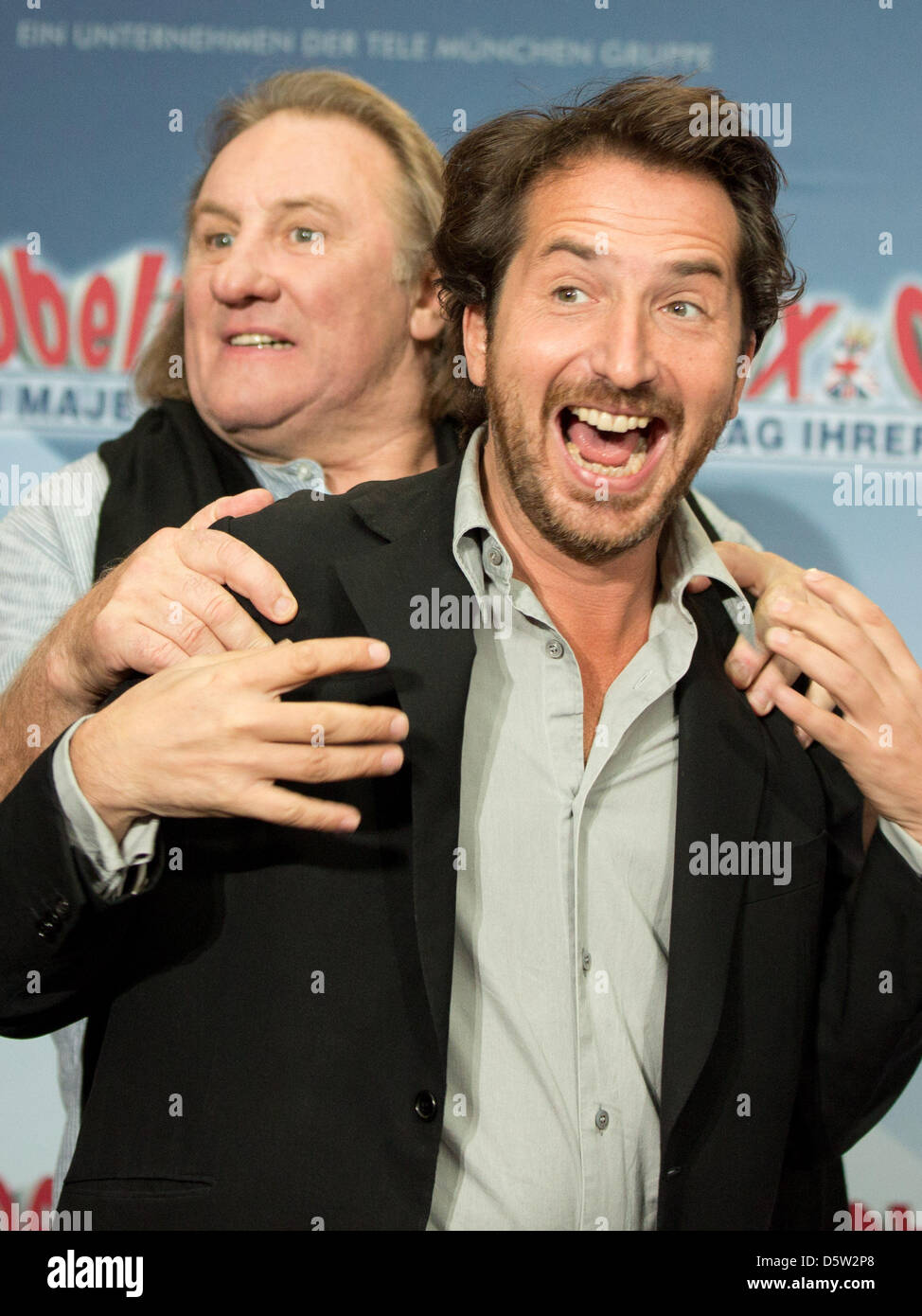 Actors Gerard Depardieu (L) Edouard Baer pose during a photocall for their  new movie 'Asterix & Obelix - On Her Majesty's Service' in Berlin, Germany,  ...