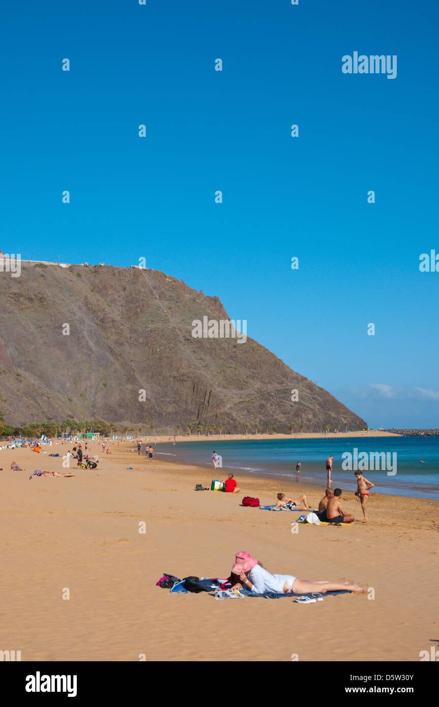 Playa de las Teresitas beach San Andres town Tenerife island the Canary Islands Spain Europe - Stock Image