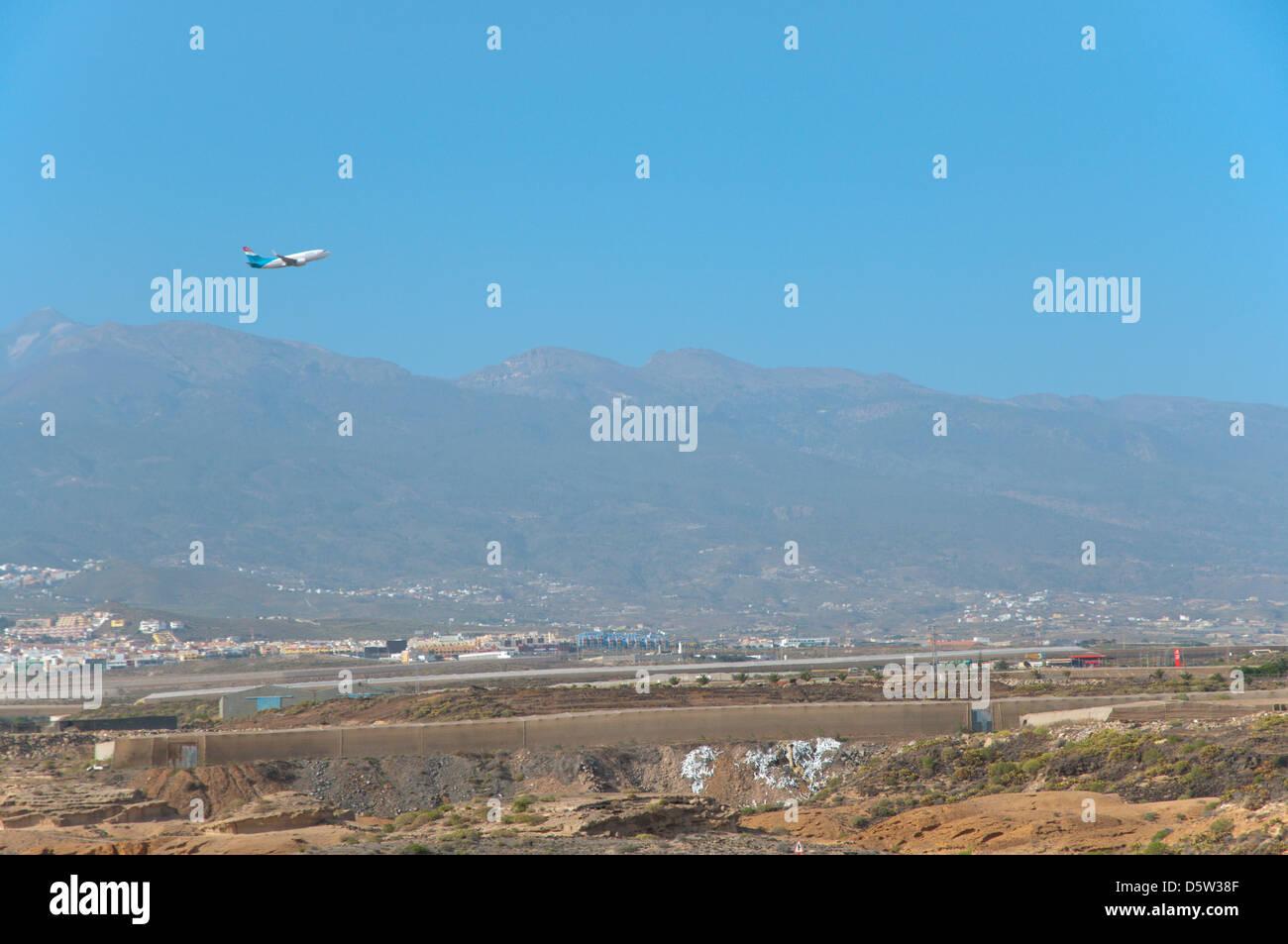 Aeroplane above El Medano town Tenerife island the Canary Islands Spain Europe - Stock Image